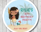Personalized Tropical Princess Favor Tags, Moana Party Stickers, Moana Birthday Party Labels, Moana Stickers, Moana Thank You Tags