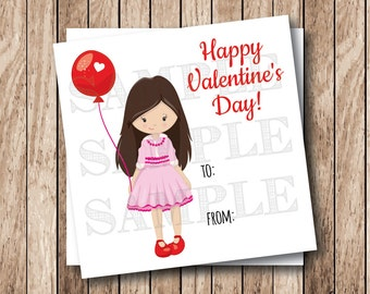 Instant Download Valentine Girl Tags, Printable Valentine Tags, Child Girl Valentine Tags, Classroom Valentine Cards