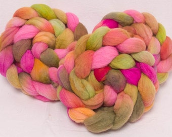 Hand painted Fibre, Hand painted roving, Polwarth, Hand Painted top, roving, fiber, Hand dyed spinning wool, colour Floriana