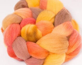 Hand dyed roving, British Southdown top,  spinning wool, hand painted roving, sock  fibre, combed top, 100g, Leonards Lea
