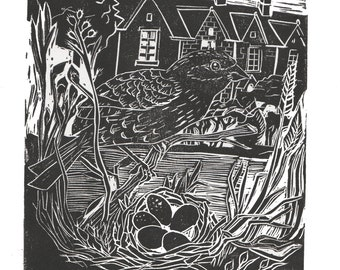Bedford Cottages ,Original Lino Cut Print