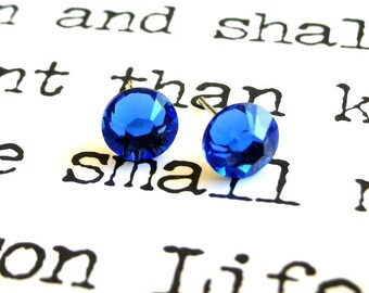 Sapphire blue Swarovski 7mm stud earrings,  bright blue crystal posts, elegant bridal, wedding jewelry