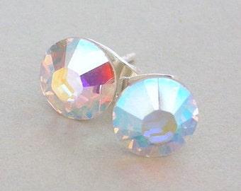 9mm Crystal AB Swarovski stud earrings, AB crystal posts, bridal earrings