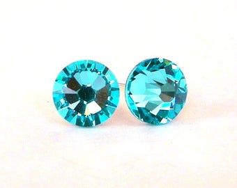 Light Turquoise crystal stud earrings, Swarovski crystal posts, 7mm turquoise crystal studs, small blue posts