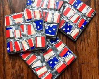 Stars and Stripes Mosaic Coasters (Set of 4)