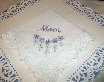 Mom hankie, wedding handkerchief, mother of bride, groom, lavendar and mint green, hand embroidered, wedding colors welcome