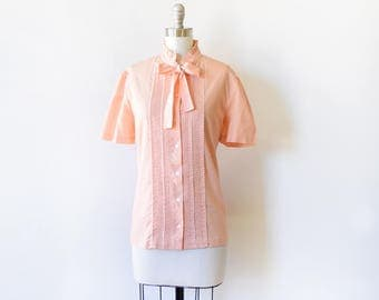 vintage peach blouse, 80s polka dot blouse with bow, 1980s short sleeve button up shirt, large l