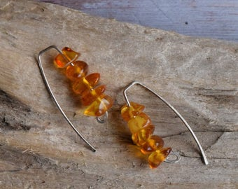 Amber earrings - Natural Yellow Brown Sterling Silver Ascetic Design Hook Earring, Arch hammered Modern Amber jewelry