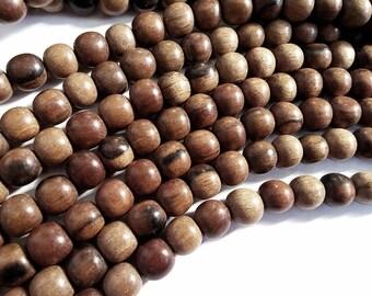Exotic Tiger Camagong wood round beads - Natural Wooden Beads 8mm - 50pcs  (PB300A)