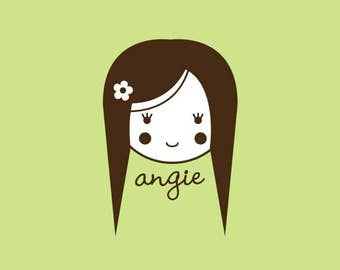Custom Rubber Stamp   Custom Stamp   Personalized Stamp   Gifts for Her   Doll Stamp   Girl Stamp   Angie   C314