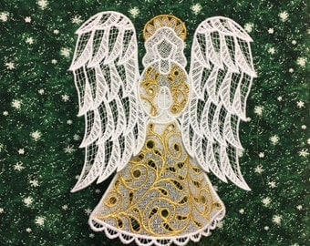 Gold-Trimmed Victorian Lace Angel Tree Topper