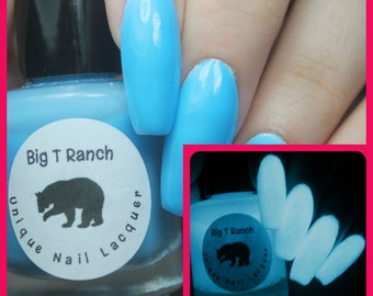 Glow-in-the-Dark Nail Polish - Blue - LITTLE DIPPER - Custom Blended Nail Polish/Lacquer - Regular Full Sized Bottle (15 ml size)