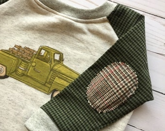 Boys Raglan Shirt made from Vintage Fabrics  18-24 month