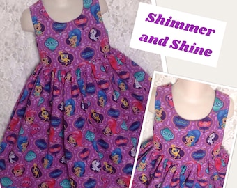 Shimmer and Shine * Nick Jr Nickelodeon classic jumper style dress CUSTOM SIZES child 2 3 4 5 6 7 8 10 12 14 - your choice sewnbyrachel
