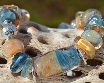 BEACHSIDE-Handmade Lampwork and Sterling Silver Bracelet