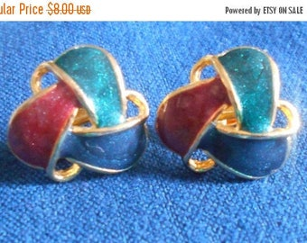 SALE Enameled Clip On Earrings, green blue brown or burgandy