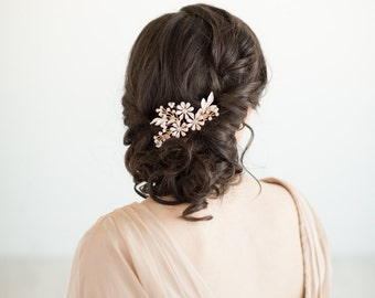 Gold Floral Bridal Hair Comb, Bridal Hair Comb, Gold Wedding Hairpiece, Gold Bridal Headpiece, Wedding Hair Comb