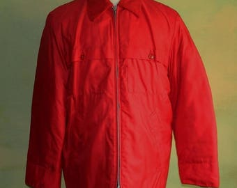 M 42 60s Sportscaster Red Nylon Coat Insulated with Gen-Cel Lite Water Proof Insulated Breathable New Old Stock Deadstock Corduroy Collar