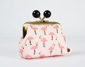 Metal frame coin purse with color bobbles - Flamingo in peach - Color mum / Tropical birds / Korean fabric / Black pink white teal