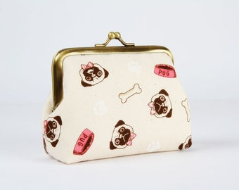 Metal frame coin purse - Pugs and paws on off white - Deep dad / Kawaii japanese fabric / pink white dogs / bones