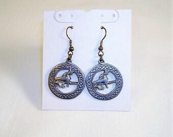 Silver Tone Cat Hoop Dangle Earrings