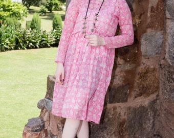 Easy Breezy Dress Boho Size S M L XL block Printed Cotton Gypsy