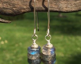 Labradorite Earrings- Stack Earrings- Gemstone Earrings- Gray- Sterling Silver- Long Earrings