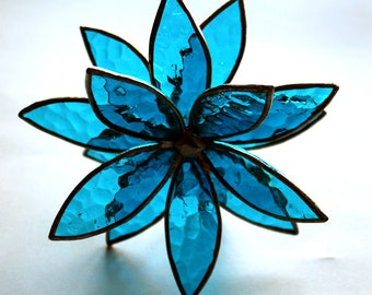 NEW 3D Stained Glass Flower Suncatcher -Dark Aqua Textured - In Full Bloom
