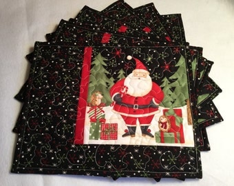 Christmas Placemats Quilted, Quilted Santa Placemats, Holiday Quilted Placemats, Black Red Christmas Placemats, Set of Six