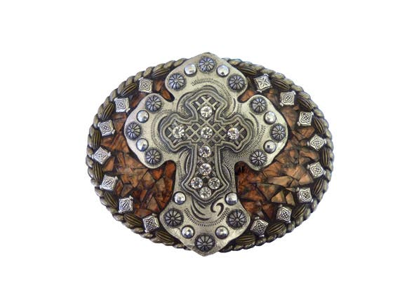 Unisex Mosaic Cross Western Belt Buckle for Men or Women, Statement Belt Buckle, Belt Buckle with Van Gogh Glass