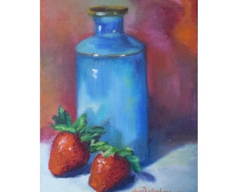 Small Still Life Oil Painting, Original Small Canvas Art, Strawberries and Turquoise Vase,Oil Painting by Cheri Wollenberg