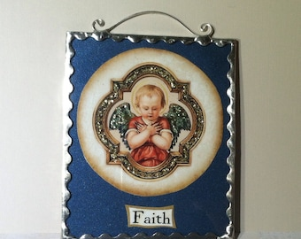 Angel Faith Plaque Glittered Image Soldered Glass Ornament