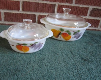 Vintage Fire King Perfect Gay Fad 4 Pc Lot Round Glass Covered Casserole Dishes