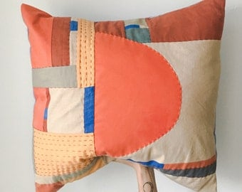 "24"" x 24"" Hand Quilted Pillow #1 / Bright Orange Throw / Natural Minimalist Mid-Century Modern Pillow / Bahaus Patchwork Handmade OOAK"
