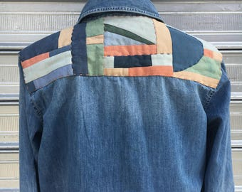 hand dyed quilted backpatch // womens madewell cotton silk denim shirt // OOAK hand sewn quilted patchwork