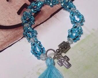 Sale Beth Moore Bracelet Believing God Bible Study Bracelet Tassel Bracelet Inspired by Beth Moore Blue Beaded Crystal Bracelet NEW DESIGN