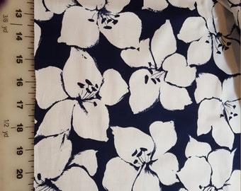 Navy Blue with White Floral assuming Cotton print BTY Cranston