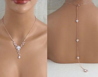 Rose gold Backdrop necklace, Bridal Back drop necklace, Bridal jewelry, Back necklace, Crystal necklace, Wedding Jewelry set, Swarovski LILY