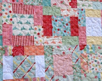 Quilt Baby Toddler Nursery Bedding Sweet Urban Chiks Scrappy Patchwork Modern Retro Crib Cot Red Green Blue Colorful Roses piecesofpine