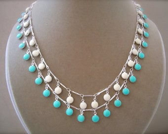 Rhapsody -- Turquoise and White Enamel Double-Strand Necklace