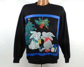 Ugly Christmas Sweater Vintage Sweatshirt Bunnies Xmas Tacky Holiday size L