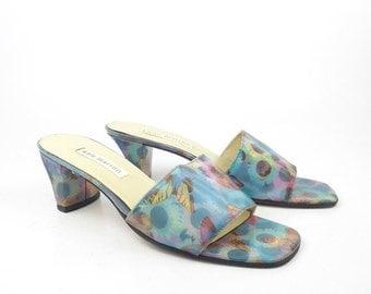 Ann Marino Heels Vintage 1990s Sandals Holographic Lenticular High Heel Sunflowers Butterflies women's size 7 1/2