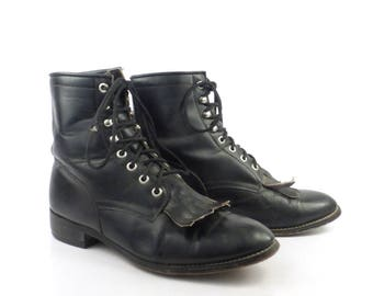 Roper Boots Vintage 1980s Justin Leather  Black Granny Lace up Packer men's size 6 D Women's size 7 - 7 1/2