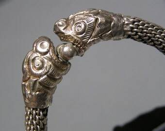 HEAVY  Dragon Head Silver Bangle . Indian or Chinese Ethnic Jewelry .