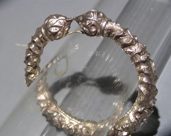 Vintage Tribal Sterling Silver Bangle . Ethnic Jewelry