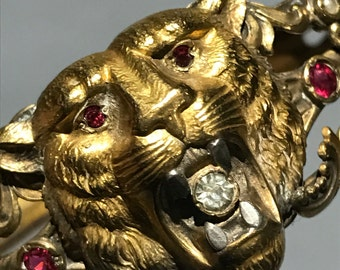 Victorian  Gold Filled Bracelet - Lion Face - Jeweled Bangle - HHC Co Victorian Jewelry . Antique Jewelry