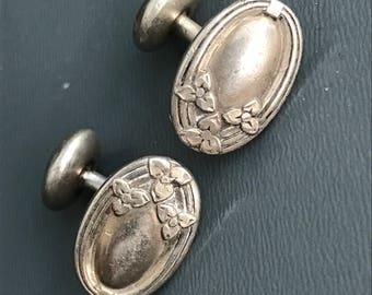 Antique Victorian Silver Cufflinks . Victorian jewelry