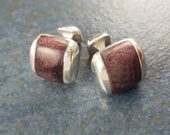 Cuff Links, Wood, Purpleheart wood, Sterling Silver, Gift, Hand Made, Accessories