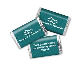 Teal Double Hearts Mini Wedding Candy Wrapper Editable  PDF file - Instant Download - Chocolate Bar Favors