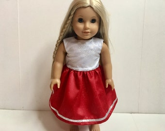 18 Inch American Made Girl Doll Clothing - Red Party Dress